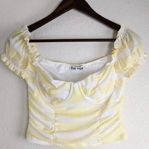 Tic Toc Ruched Puff Sleeve Yellow Crop Top